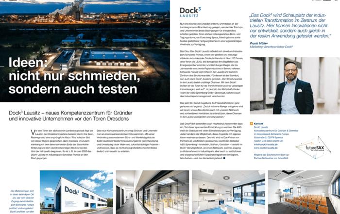 Das Magazin Teamgeist von Schneider + Partner berichtet über das Dock3 Lausitz.