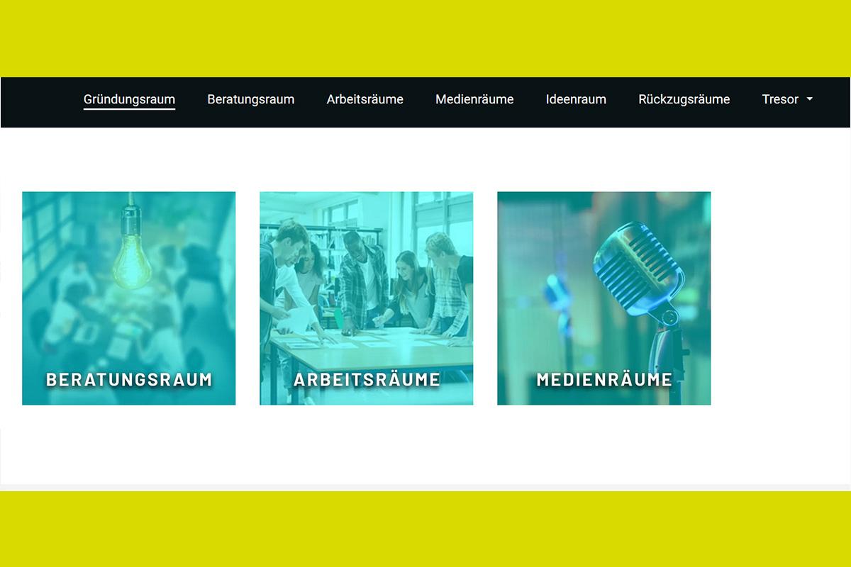 Screenshot der Website des Gründungsraum Lausitz
