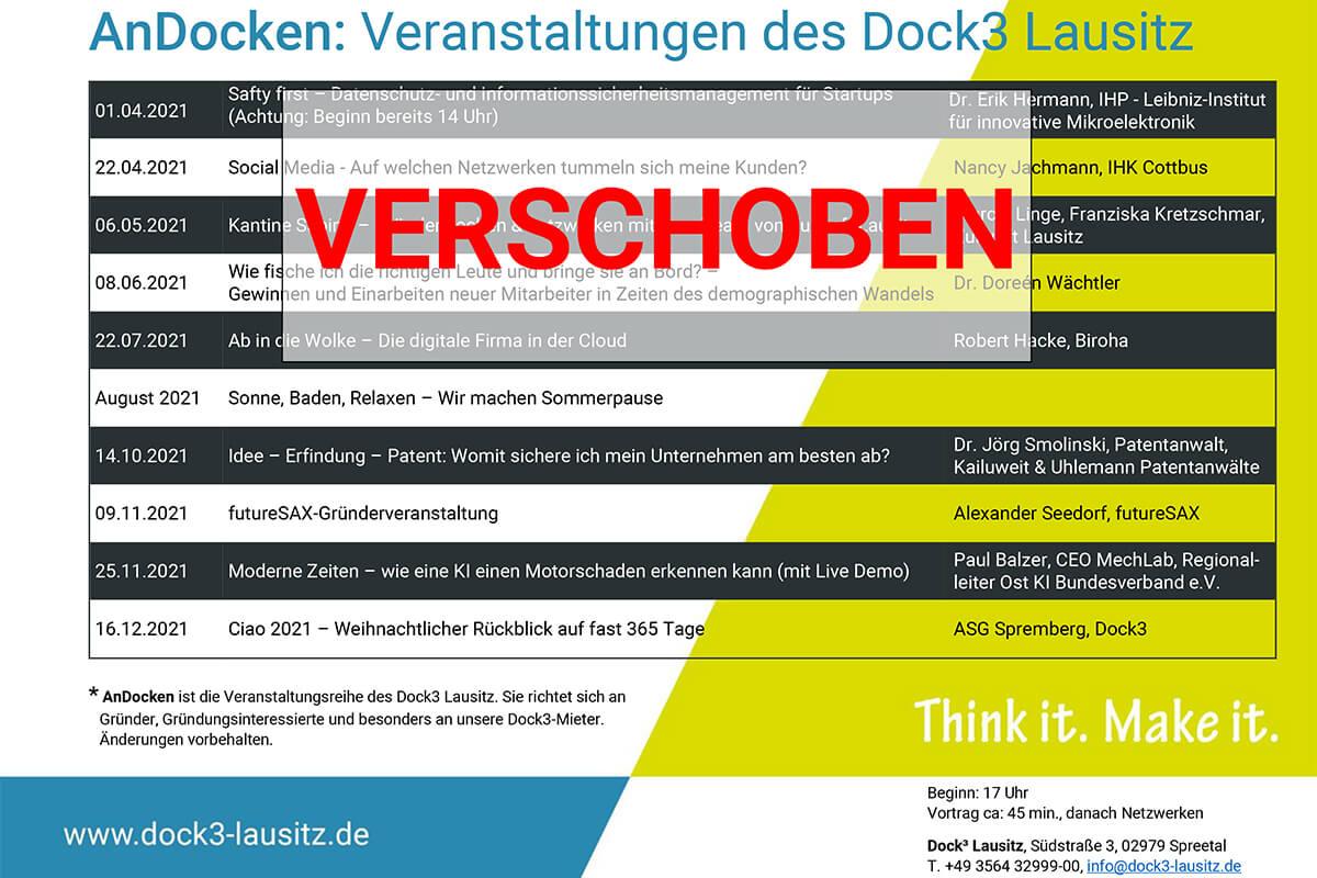 Veranstaltungsreihe Andocken im Dock3 Lausitz für Gründer und junge Unternehmen